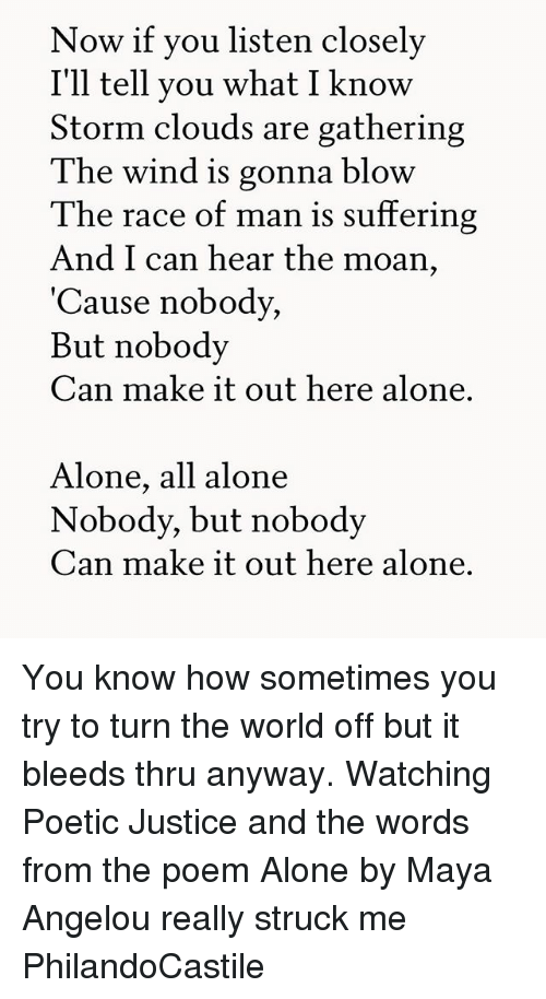 a review of the poem alone in this world