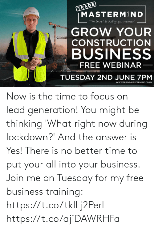 answer: Now is the time to focus on lead generation!   You might be thinking 'What right now during lockdown?' And the answer is Yes!   There is no better time to put your all into your business. Join me on Tuesday for my free business training: https://t.co/tkILj2Perl https://t.co/ajiDAWRHFa