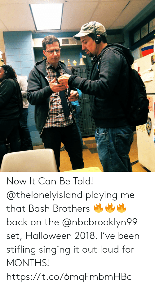 bash: Now It Can Be Told! @thelonelyisland  playing me that Bash Brothers 🔥🔥🔥 back on the @nbcbrooklyn99 set, Halloween 2018. I've been stifling singing it out loud for MONTHS! https://t.co/6mqFmbmHBc