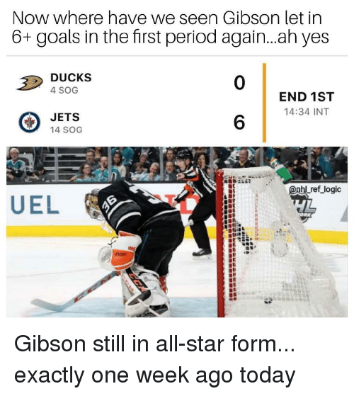 sog: Now where have we seen Gibson let in  6+ goals in the first period again...ah yes  DUCKS  4 SOG  0  END 1ST  14:34 INT  JETS  14 SOG  6  Lref logic Gibson still in all-star form... exactly one week ago today