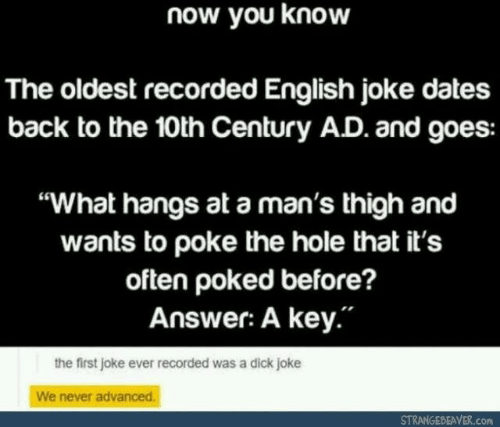 """thigh: now you know  The oldest recorded English joke dates  back to the 10th Century AD. and goes:  """"What hangs at a man's thigh and  wants to poke the hole that it's  often poked before?  Answer: A key.""""  the first joke ever recorded was a dick joke  We never advanced.  STRANGEBEAVER.com"""