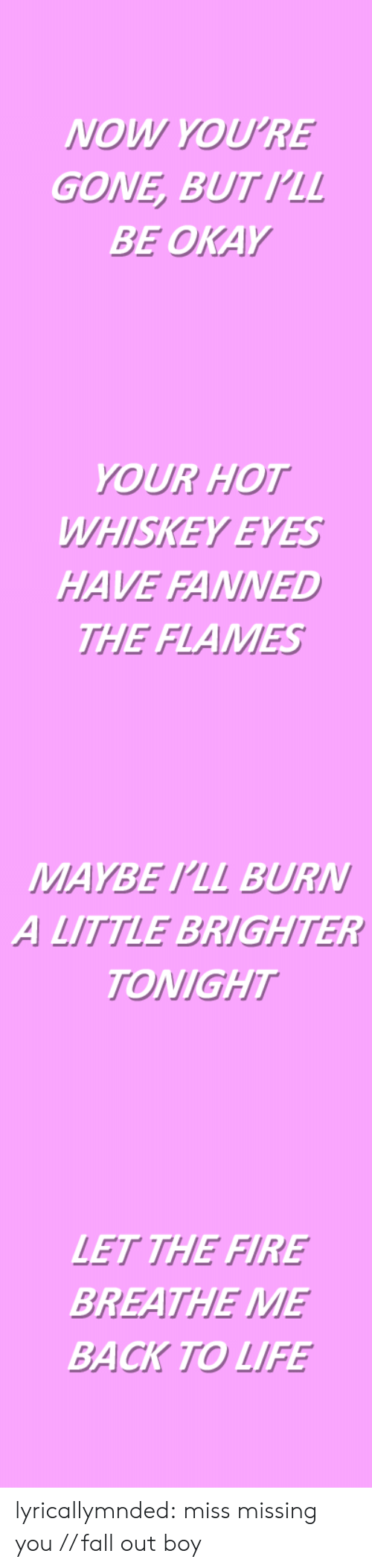Fall Out Boy: NOW YOU'RE  GONE, BUTIL  BE OKAY   YOUR HOT  WHISKEY EYES  HAVE FANNED  THE FLAMES   MAYBE PLL BURN  A LITTLE BRIGHTER  TONIGHT   LET THE FIRE  BREATHE ME  BACK TO LIFE lyricallymnded:  miss missing you // fall out boy