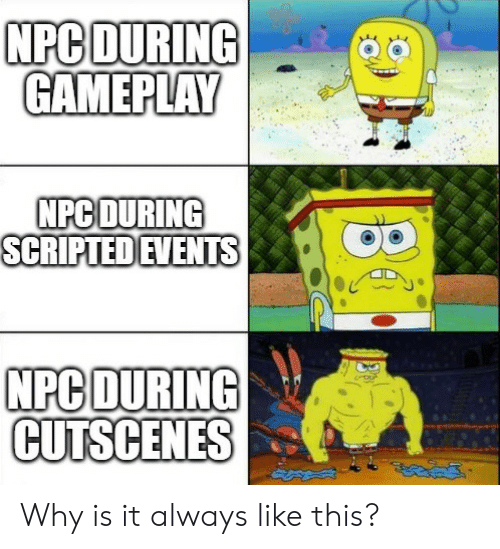 gameplay: NPC DURING  GAMEPLAY  NPC DURING  SCRIPTED EVENTS  NPC DURING  CUTSCENES Why is it always like this?