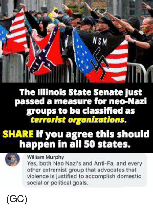 Neo Nazi: NSM  The Illinois State Senate just  passed a measure for neo-Nazi  groups to be classifled as  terrorist organizations.  SHARE if you agree this should  happen in all 50 states.  William Murphy  Yes, both Neo Nazi's and Anti-Fa, and every  other extremist group that advocates that  violence is justified to accomplish domestic  social or political goals. (GC)