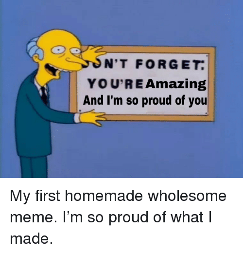 im so proud of you: N'T FORGET  YOU'RE Amazing  And I'm so proud of you <p>My first homemade wholesome meme. I'm so proud of what I made.</p>