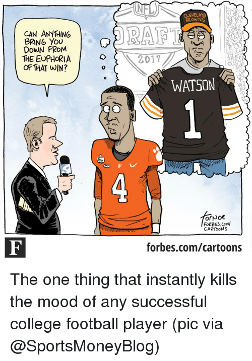 College Football, Sports, and Cartoon: NTV)  ENEL  Row  CAN ANYTHING  BRING YOU  DOWN FROM  THE EUPHORIA 2017  OF THAT WIN?  WATSON  4  FORBES Coml  CARTOONS  forbes.com/cartoons The one thing that instantly kills the mood of any successful college football player (pic via @SportsMoneyBlog)