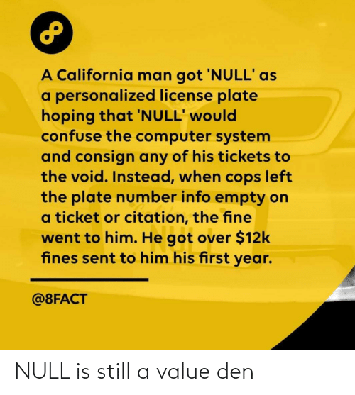Null: NULL is still a value den