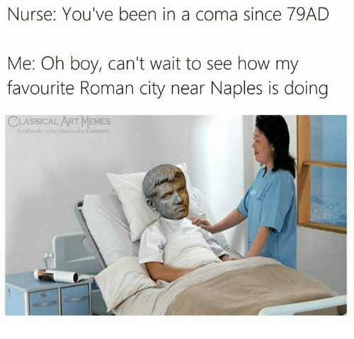 Facebook, Memes, and facebook.com: Nurse: You've been in a coma since 79AD  Me: Oh boy, can't wait to see how my  favourite Roman city near Naples is doing  CLASSICALART MEMES  facebook.com/elassicalartimemes