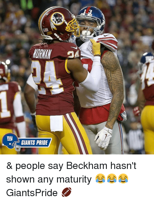 Memes, Ny Giants, and 🤖: ny  GIANTS PRIDE & people say Beckham hasn't shown any maturity 😂😂😂 GiantsPride 🏈