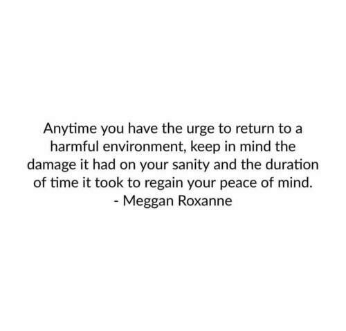 sanity: nytime you have the urge to return to a  harmful environment, keep in mind the  damage it had on your sanity and the duration  of time it took to regain your peace of mind.  Meggan Roxanne