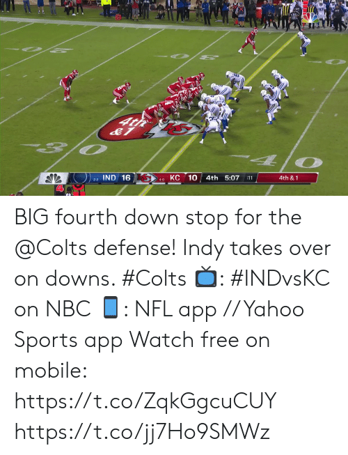 downs: O 2  O PE  4t  O  КС 10  IND 16  4th 5:07  4th &1  :11  2-2  4-0 BIG fourth down stop for the @Colts defense!  Indy takes over on downs. #Colts  📺: #INDvsKC on NBC 📱: NFL app // Yahoo Sports app Watch free on mobile: https://t.co/ZqkGgcuCUY https://t.co/jj7Ho9SMWz