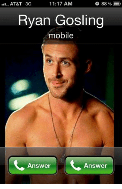 Ryan Gosling, At&t, and Mobile: o 88%  11:17 AM  AT&T 3G  Ryan Gosling  mobile  Answer  Answer
