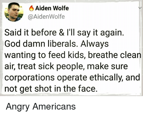 God, Say It, and Kids: O Aiden Wolfe  @AidenWolfe  Said it before & l'll say it again.  God damn liberals. Always  wanting to feed kids, breathe clean  air, treat sick people, make sure  corporations operate ethically, and  not get shot in the face. Angry Americans