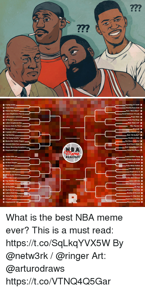 """Nba Meme: O Crying Jordan  Swole Bibby  O Pierce Two Phones  O Lance Stephenson Pop-up-  O LeBraaaaawn Jamessss  3 KD Burner  4 Lakers Sunglasses Guy  Squinting J.R. Smith。  Beasley Knee Grab O  Russ """"Who's Man?"""" O  David Robinson-TX Lady O  Prayer Melo O  Kobe Five Rings  Melo """"Risk It All""""  TMac Big Suit D  MJ Laugh。  Barnes-Kobe No Flinch  O Durag LeBron  O Crybaby LeBron-  O Pop Running  3 """"I'm Trying Jennifer""""  7 Monta Ellis Twitter Fingers  0 DeAndre Stink Face  Raps Mascot Fall  Melo """"Oh Really?"""" O  Windhorst Slide  -Doc Rivers Disbelief 0  Dead Face D-Rose 0  Nick Young Missed 3  China Klay Dance  Alonzo Mourning Acceptance  O Draymond-Fergie  meme  BRACKET  Harden Side-eye  Confused Nick Young  Jeff Van Gundy Eyes  LeBron-LR. WYD?  -Kobe White Clothes  John Wall """"Bruh""""  Harden Renaissance  O KD Next Chapter  O Rondo Stats  O Russ """"Ahhhh""""  2 DeAndre Chair  4 Shaq-vs.-Cat Shimmy  D CP3 Fake Laugh  O Pop Thumbs-Upn  。  。  Steph Curry 20  ㄧ  10eDumars Two Phones  Harden-Wes Johnson  Lance-LBJ's Ear O  Jimmy Butler Crumpling Stats  O KD Real MVP  Mike Woodson Twist  J.R. Pipe O  Big Baby Lips  7 Lakers Chain Guy  0 Jimmy Butler Dunk Face  Kupchak Sad Face  _ Beasley 10 Percent Q  David Stern Choking  AL Step Over  3-1 Lead  Draymond-KD Talk  Pierce Wheelchair What is the best NBA meme ever?  This is a must read: https://t.co/SqLkqYVX5W  By @netw3rk / @ringer  Art: @arturodraws https://t.co/VTNQ4Q5Gar"""