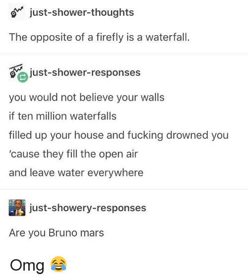 Drowned: o just-shower-thoughts  The opposite of a firefly is a waterfall.  just-shower-responses  you would not believe your walls  if ten million waterfalls  filled up your house and fucking drowned you  'cause they fill the open air  and leave water everywhere  just-showery-responses  Are you Bruno mars Omg 😂