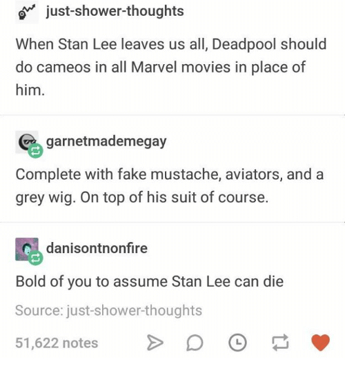 Fake, Movies, and Shower: o just-shower-thoughts  When Stan Lee leaves us all, Deadpool should  do cameos in all Marvel movies in place of  him.  garnetmademegay  Complete with fake mustache, aviators, and a  grey wig. On top of his suit of course.  danisontnonfire  Bold of you to assume Stan Lee can die  Source: just-shower-thoughts  51,622 notesD
