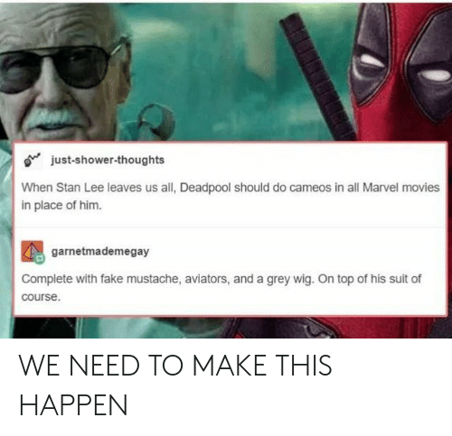 Aviators: o just-shower-thoughts  When Stan Lee leaves us all, Deadpool should do cameos in all Marvel movies  in place of him.  2  garnetmademegay  Complete with fake mustache, aviators, and a grey wig. On top of his suit of  course. WE NEED TO MAKE THIS HAPPEN
