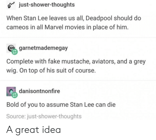 Aviators: o just-shower-thoughts  When Stan Lee leaves us all, Deadpool should do  cameos in all Marvel movies in place of him  garnetmademegay  Complete with fake mustache, aviators, and a grey  wig. On top of his suit of course.  danisontnonfire  Bold of you to assume Stan Lee can die  Source: just-shower-thoughts A great idea