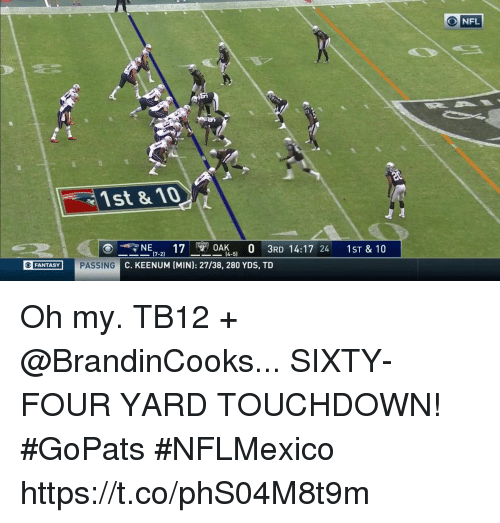 Memes, Nfl, and 🤖: O NFL  1st & 10  (4-5)  FANTASY PASSING C. KEENUM (MIN  PASSING C. KEENUM  ): 27/38, 280 YDS, T  O FANTASY Oh my.  TB12 + @BrandinCooks...  SIXTY-FOUR YARD TOUCHDOWN! #GoPats #NFLMexico https://t.co/phS04M8t9m