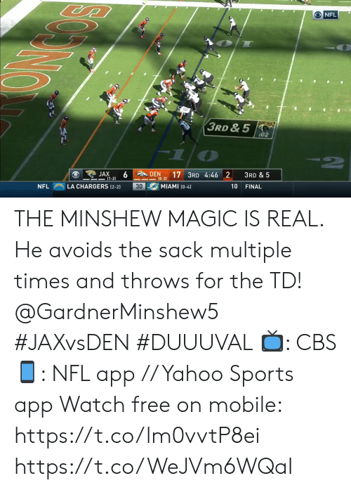 jax: O NFL  3RD & 5  02  6 DEN  JAX  -(1-2)  3RD & 5  10-3) 17 3RD 4:46 2  MIAMI (0-4)  LA CHARGERS (2-2)  30  10  NFL  FINAL THE MINSHEW MAGIC IS REAL.  He avoids the sack multiple times and throws for the TD! @GardnerMinshew5 #JAXvsDEN #DUUUVAL   ?: CBS ?: NFL app // Yahoo Sports app Watch free on mobile: https://t.co/lm0vvtP8ei https://t.co/WeJVm6WQaI