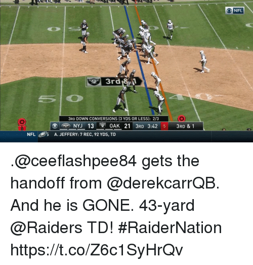 Memes, Nfl, and Raiders: O NFL  3rd 8 1  3RD DOWN CONVERSIONS (3 YDS OR LESS): 2/3  IO  NYJ 13 0AK 21 3RD 3:42 51 3RD & 1  NFL  /5  A. JEFFERY: 7 REC, 92 YDS, TD .@ceeflashpee84 gets the handoff from @derekcarrQB.  And he is GONE. 43-yard @Raiders TD! #RaiderNation https://t.co/Z6c1SyHrQv
