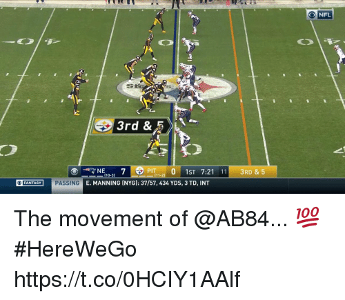 Memes, Nfl, and 🤖: O NFL  3rd &  PIT 0 1ST 7:21 113RD &5  (10-  3)  FANTASY PASSING  E. MANNING (NYG): 37/57, 434 YDS, 3 TD, INT The movement of @AB84... 💯 #HereWeGo https://t.co/0HCIY1AAlf