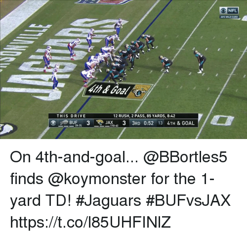 Andrew Bogut, Memes, and Nfl: O NFL  AFC WILD CARD  THIS DRIVE  12 RUSH, 2 PASS, 85 YARDS, 8:42  BUF3  JA3 3RD 0:52 13 4TH & GOAL  -71 -(10-61  110-6) On 4th-and-goal...  @BBortles5 finds @koymonster for the 1-yard TD! #Jaguars #BUFvsJAX https://t.co/l85UHFINlZ