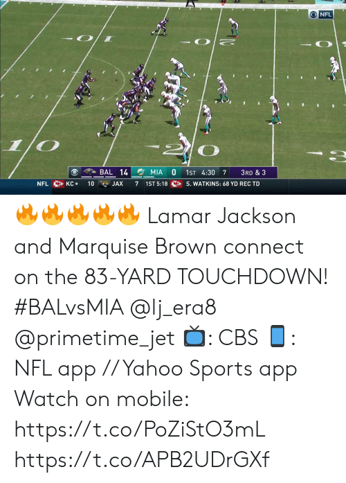 jet: O NFL  BAL 14  MIA  1ST 4:30  3RD & 3  7  S. WATKINS: 68 YD REC TD  KC  NFL  10  7  1ST 5:18  JAX 🔥🔥🔥🔥🔥  Lamar Jackson and Marquise Brown connect on the 83-YARD TOUCHDOWN! #BALvsMIA @lj_era8 @primetime_jet  📺: CBS 📱: NFL app // Yahoo Sports app  Watch on mobile: https://t.co/PoZiStO3mL https://t.co/APB2UDrGXf