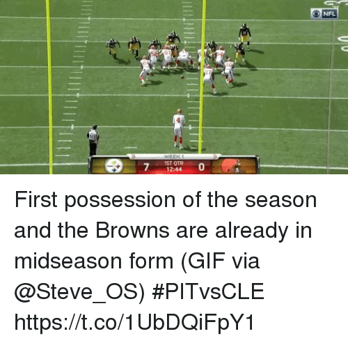 Gif, Nfl, and Sports: O NFL  IST OTR  12:44  0 First possession of the season and the Browns are already in midseason form  (GIF via @Steve_OS) #PITvsCLE https://t.co/1UbDQiFpY1
