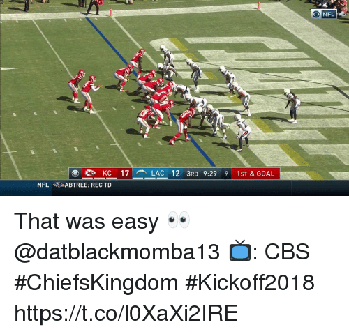 Memes, Nfl, and Cbs: O NFL  KC 17- LAC 12 3RD 9:29 9 1ST & GOAL  NFL fRABTREE: REC TD That was easy 👀 @datblackmomba13  📺: CBS #ChiefsKingdom #Kickoff2018 https://t.co/l0XaXi2IRE