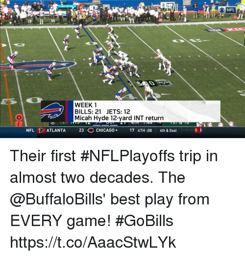 Chicago, Memes, and Nfl: O NFL  WEEK 1  BILLS: 21 JETS: 12  Micah Hyde 12-yard INT return  NFL  ATLANTA  23 C  CHICAGO .  174TH:08  4th & Goal Their first #NFLPlayoffs trip in almost two decades.   The @BuffaloBills' best play from EVERY game! #GoBills https://t.co/AaacStwLYk