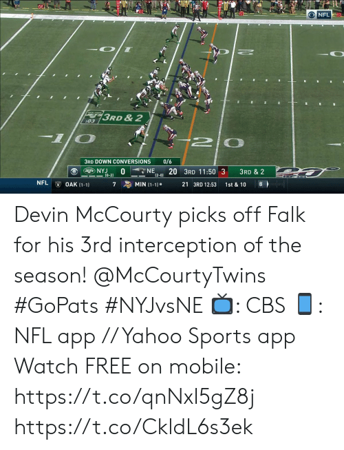Devin: O NFL30  3RD &2  :03  -10  2 0  0/6  3RD DOWN CONVERSIONS  NE  NYJ  (0-2)  20 3RD 11:50 3  3RD & 2  (2-0)  NFL  MIN (1-1)  OAK (1-1)  21 3RD 12:53  8  7  1st & 10 Devin McCourty picks off Falk for his 3rd interception of the season! @McCourtyTwins #GoPats #NYJvsNE  📺: CBS 📱: NFL app // Yahoo Sports app Watch FREE on mobile: https://t.co/qnNxI5gZ8j https://t.co/CkldL6s3ek