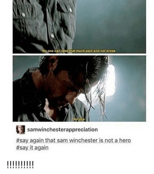 Memes, Say It, and Break: o one can take that much pain and not break  No one  samwinchesterappreciation  #sayaganthat sam winchester-isnotahero  #say it again !!!!!!!!!!