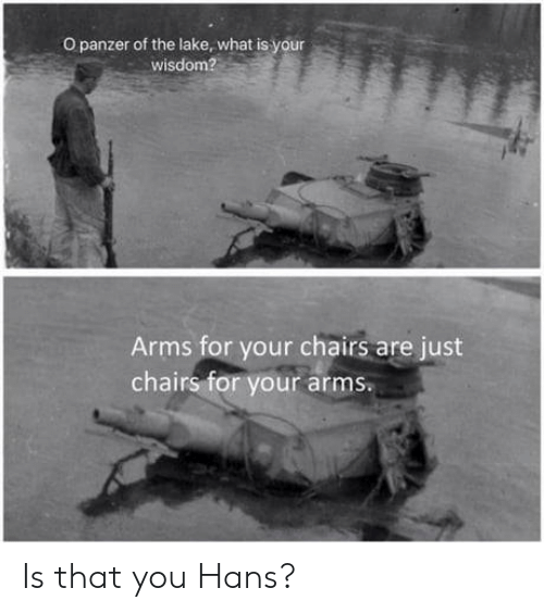 chairs: O panzer of the lake, what is your  wisdom?  Arms for your chairs are just  chairs for your arms. Is that you Hans?
