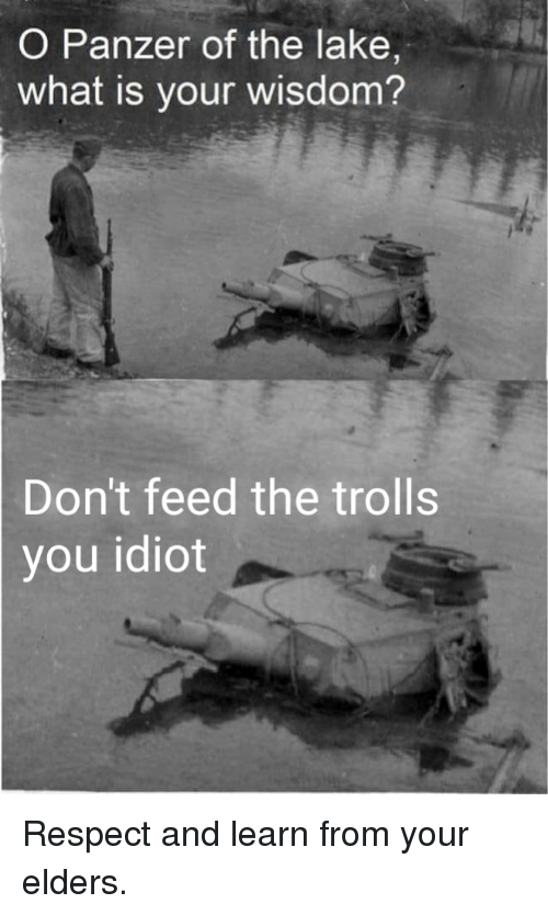 dont feed the trolls: O Panzer of the lake,  what is your wisdom?  Don't  feed the trolls  idiot  you