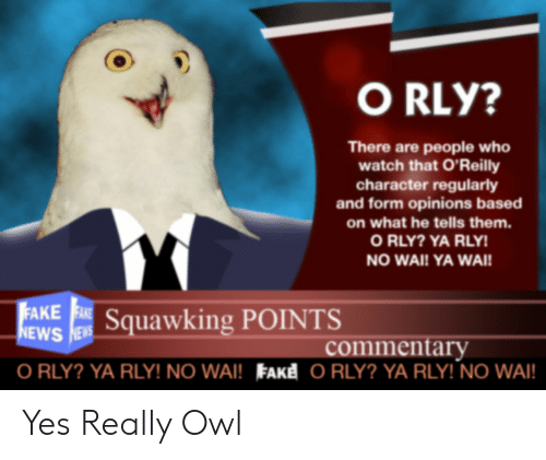 Ya Rly: O RLY?  There are people who  watch that O'Reilly  character regularly  and form opinions based  on what he tells them.  O RLY? YA RLY!  NO WAI! YA WAI!  EAKE E Squawking POINTS  NEWS NEWS  commentary  O RLY? YA RLY! NO WAI! FAKE O RLY? YA RLY! NO WAI! Yes Really Owl