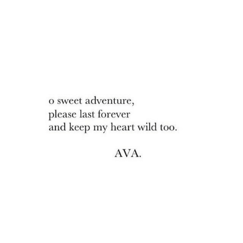 ava: o sweet adventure,  please last forever  and keep my heart wild too  AVA