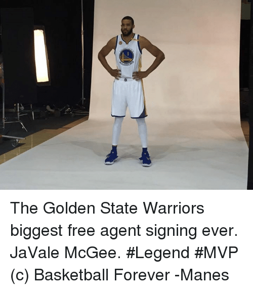 Basketball, Golden State Warriors, and Forever: o The Golden State Warriors biggest free agent signing ever. JaVale McGee. #Legend #MVP  (c) Basketball Forever  -Manes