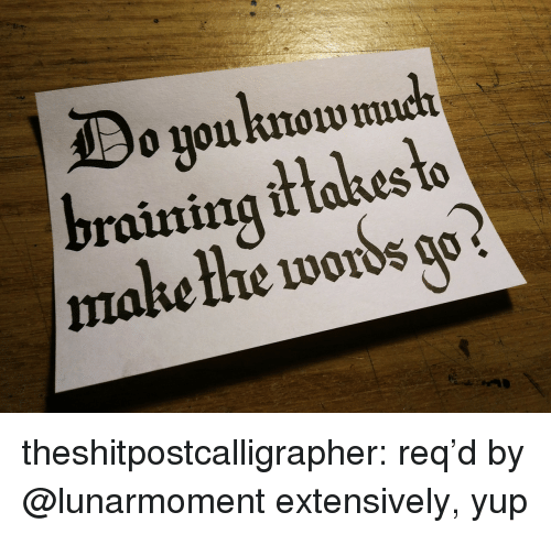raining: o youknow  raining it takes to  make thhe words o theshitpostcalligrapher: req'd by @lunarmoment extensively, yup