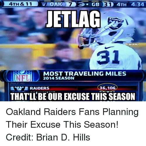 NFL: OAK 7  GB E310 4TH 4:34  4TH & 11  JETLAG  ONFLMEMEZ  MOST TRAVELING MILES  NFL  2014 SEASON  36.106  THAT LLBE OUR EXCUSE THIS SEASON Oakland Raiders Fans Planning Their Excuse This Season! Credit: Brian D. Hills