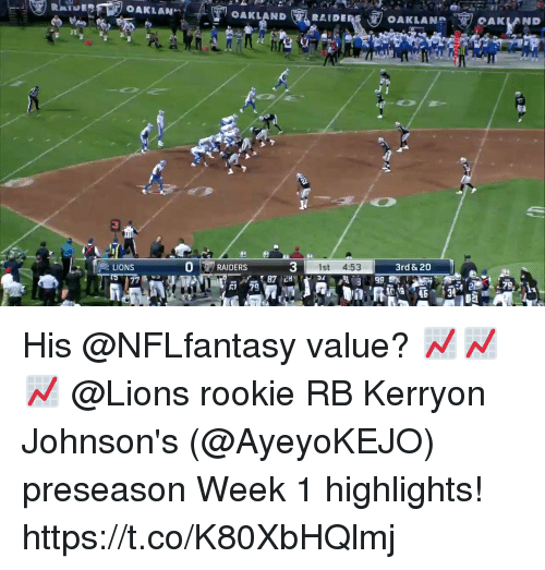 johnsons: OAKLANHOAKLAND  CAKLAND  LIONS  0RAIDERS  3  1st 4:53  3rd & 20  R1 79 His @NFLfantasy value? 📈📈📈  @Lions rookie RB Kerryon Johnson's (@AyeyoKEJO) preseason Week 1 highlights! https://t.co/K80XbHQlmj