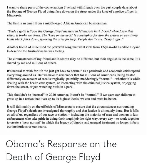 Obama: Obama's Response on the Death of George Floyd