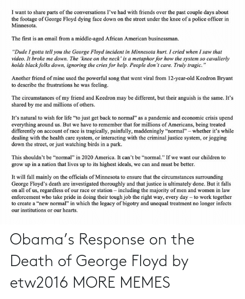 Death: Obama's Response on the Death of George Floyd by etw2016 MORE MEMES