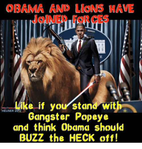 Obama, Popeyes, and Dank Memes: OBAMA AND LloN HAVE  Like if your stand with  HEUSER Gangster Popeye  and think Obama should  BUZZ the HECK off!