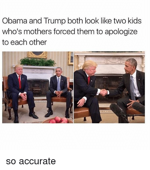 Obama And Trump: Obama and Trump both look like two kids  who's mothers forced them to apologize  to each other so accurate