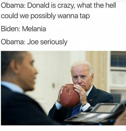 Obama Joe: Obama: Donald is crazy, what the hell  could we possibly wanna tap  Biden: Melania  Obama: Joe seriously
