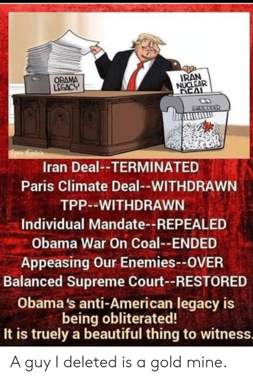 Obama Legacy: OBAMA  LEGACY  IRAN  NUCLEAR  DEAL  SHC DDER  Iran Deal--TERMINATED  Paris Climate Deal--WITHDRAWN  TPP--WITHDRAWN  Individual Mandate--REPEALED  Obama War On Coal--ENDED  Appeasing Our Enemies--OVER  Balanced Supreme Court--RESTORED  Obama's anti-American legacy is  being obliterated!  It is truely a beautiful thing to witness. A guy I deleted is a gold mine.