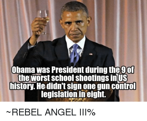 Memes, Obama, and School: Obama was President during the 9of  the worst school shootings inUS  history. Hedidn't sign one gun control  legislationineight. ~REBEL ANGEL III%