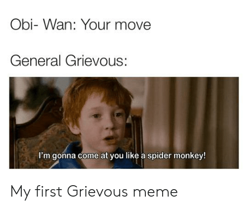 spider monkey: Obi- Wan: Your move  General Grievous:  I'm gonna come at you like a spider monkey! My first Grievous meme