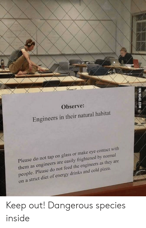 Frightened: Observe:  Engineers in their natural habitat  Please do not tap on glass or make eye contact with  them as engineers are easily frightened by normal  people. Please do not feed the engineers as they are  on a strict diet of energy drinks and cold pizza.  VIA 9GAG.COM Keep out! Dangerous species inside